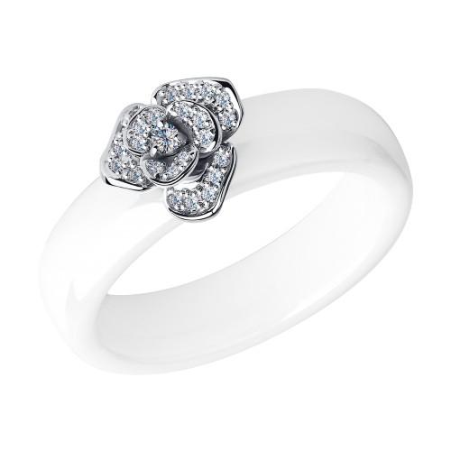 Кольцо SOKOLOV 6015009-3 из белой керамики с белым золотом и бриллиантами