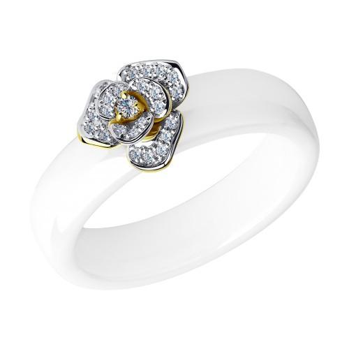 Кольцо SOKOLOV 6015009-2 из белой керамики с желтым золотом и бриллиантами