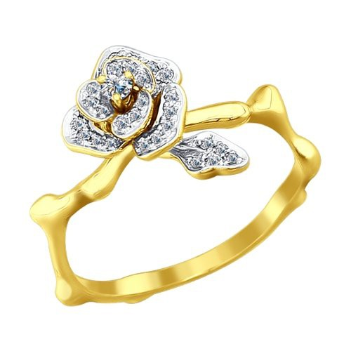 Кольцо 1011583 SOKOLOV из желтого золота в виде розы с бриллиантами