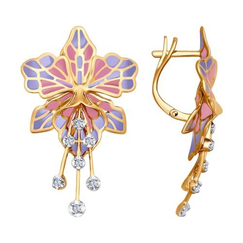 Серьги в виде Орхидеи из золота с эмалью и бриллиантами от SOKOLOV