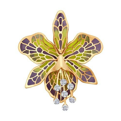 Брошь в виде Орхидеи из золота с эмалью и бриллиантами от SOKOLOV