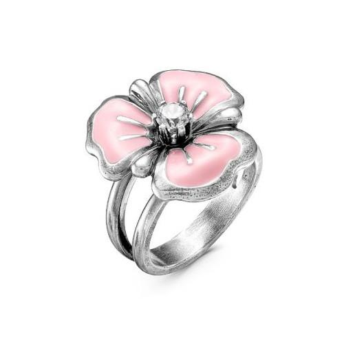 Кольцо-цветок из серебра с эмалью, КРАСНАЯ ПРЕСНЯ