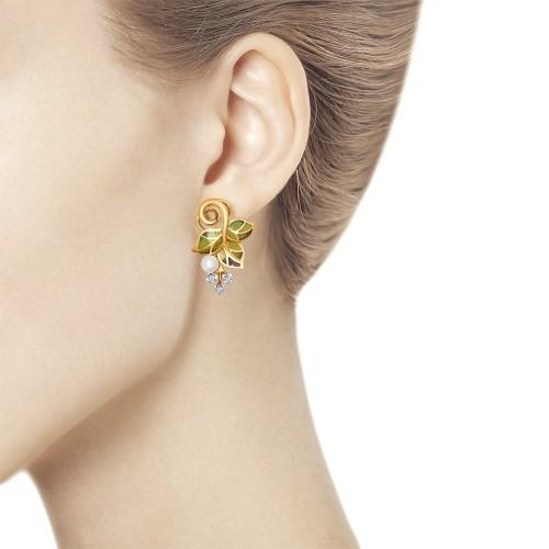 Серьги из золота с жемчугом, эмалью и бриллиантами от SOKOLOV