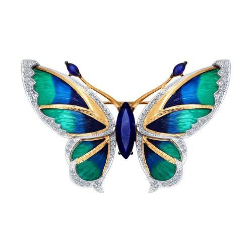 Брошь 6049001 в виде Бабочки из золота с эмалью и бриллиантами от SOKOLOV