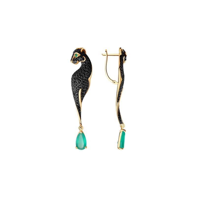 Серьги из золота в виде Черной пантеры с зеленым агатом SOKOLOV