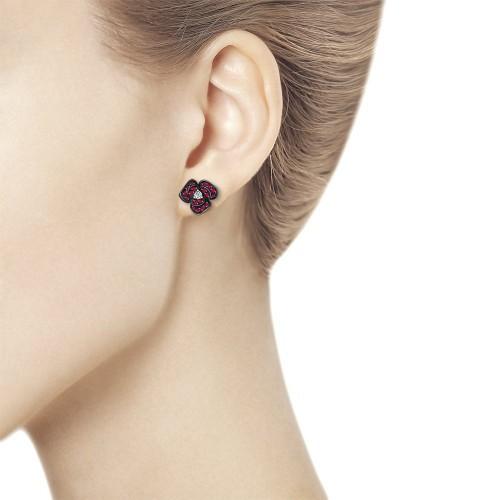 Серьги-пусеты 4020384 с рубином SOKOLOV из красног золота с бриллиантами