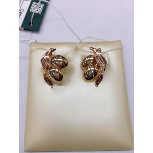 Серьги 02-4097-00-000-1113-25 из золота, ювелирный завод ПЛАТИНА