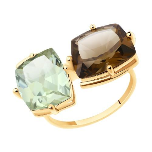 Кольцо 716017 SOKOLOV из золота с раухтопазом и зеленым аметистом
