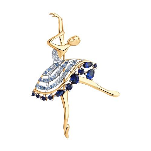 """Брошь 740341 """"Балерина"""" из золота с синим корундомSOKOLOV"""