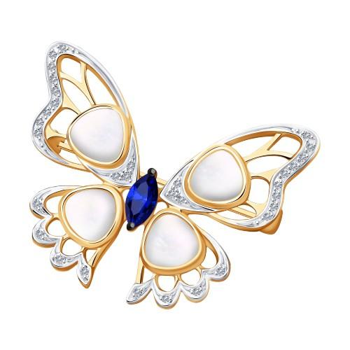 """Брошь 2040024 """"Бабочка"""" из золота с сапфиром, перламутром и бриллиантами SOKOLOV"""