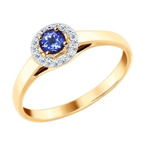 Кольцо 6014097 из золота с танзанитом и бриллиантами SOKOLOV