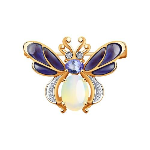 Брошь 6049023 из золота с эмалью и бриллиантами от SOKOLOV