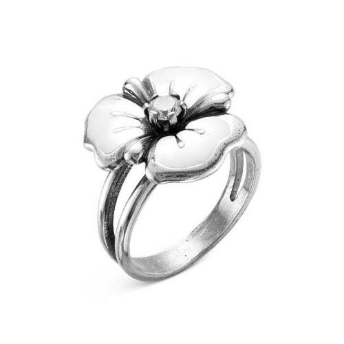 Кольцо-цветок из серебра с белой эмалью, КРАСНАЯ ПРЕСНЯ