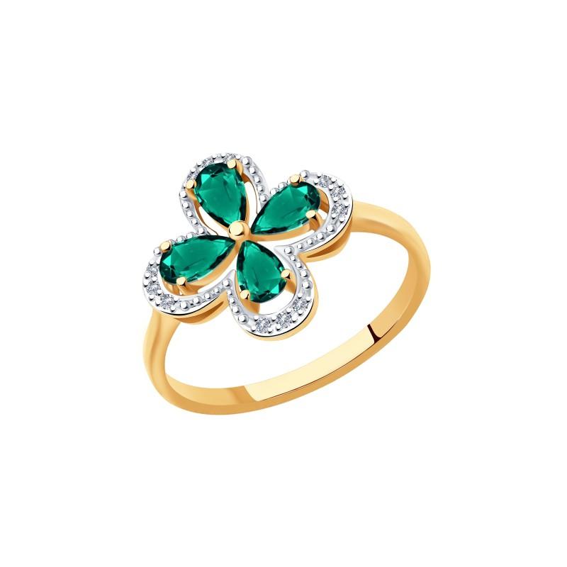 Кольцо 3010570 с изумрудом и бриллиантами из золота от SOKOLOV