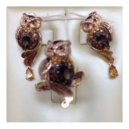 """Кольцо """"Сова""""  01-5174-00-226-1110-57 с раухтопазом, цитрином и эмалью из золота, ювелирный завод ПЛАТИНА"""