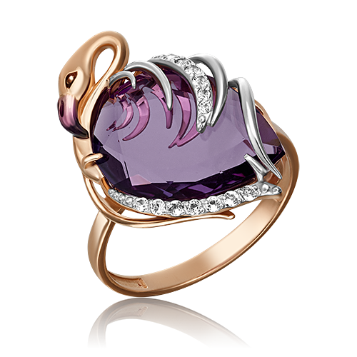 Кольцо 01-5287-00-225-1110-46 из красного золота с аметистом, Платина Кострома