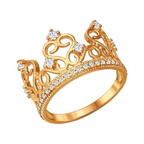 """93010367 Кольцо """"Корона"""" SOKOLOV из позолоченного серебра с фианитами"""