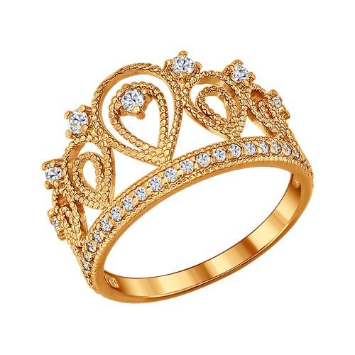 """93010365 Кольцо """"Корона"""" SOKOLOV из позолоченного серебра с фианитами"""