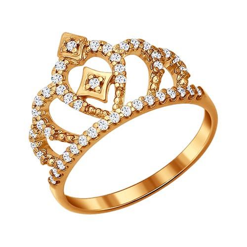 """93010366 Кольцо """"Корона"""" SOKOLOV из позолоченного серебра с фианитами"""