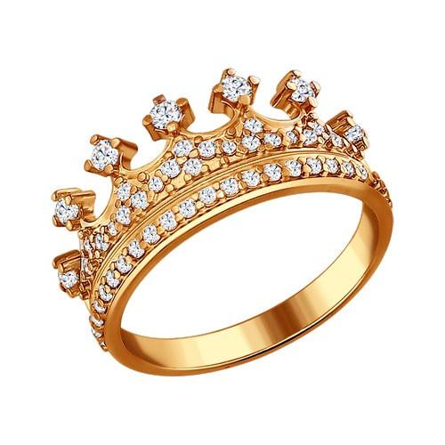 """93010368 Кольцо """"Корона"""" SOKOLOV из позолоченного серебра с фианитами"""