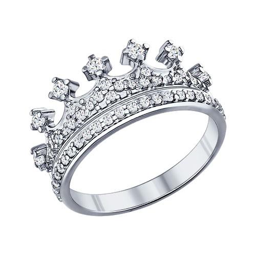 """94011218 Кольцо """"Корона"""" SOKOLOV из серебра с фианитами"""