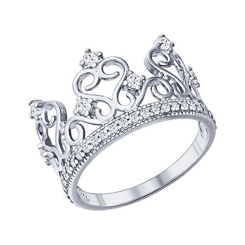 """94011217 Кольцо """"Корона"""" SOKOLOV из серебра с фианитами"""