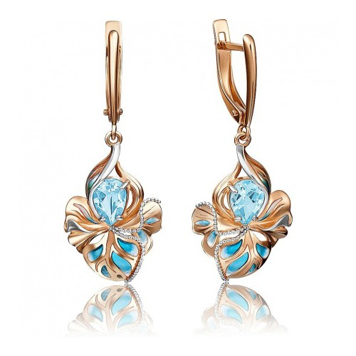 Серьги 02-4167-00-201-1110-57 с голубым топазом и эмалью из золота, ювелирный завод ПЛАТИНА