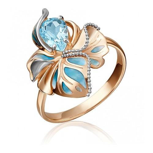 Кольцо 01-5149-00-201-1110-57 с голубым топазом и эмалью из золота, ювелирный завод ПЛАТИНА