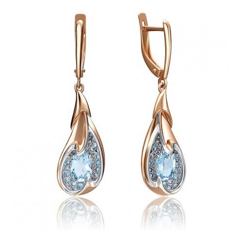 Серьги 02-4180-00-201-1110-57 с голубым топазом из золота, ювелирный завод ПЛАТИНА