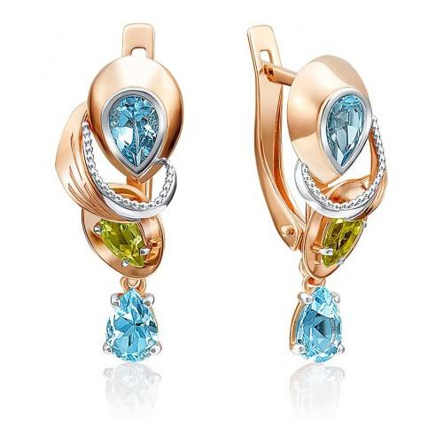 Серьги 02-4181-00-243-1110-57 с голубыми топазами и хризолитами из золота, ювелирный завод ПЛАТИНА