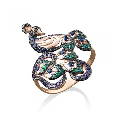 Кольцо в виде павлина из золота 01-4917-01-404-1110-52 с цветными фианитами, ювелирный завод ПЛАТИНА