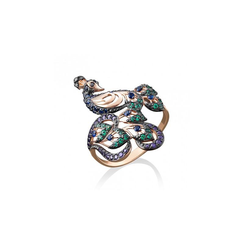Кольцо в виде павлина из золота с цветными фианитами, ювелирный завод ПЛАТИНА
