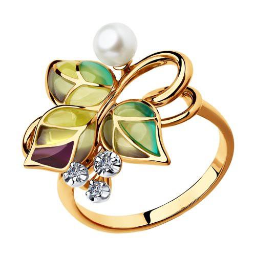"""Кольцо из золота """"Виноградная лоза"""" с эмалью и бриллиантами от SOKOLOV"""
