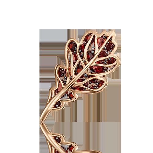 """Брошь """"Дубовый лист"""" из красного золота с гранатом ПЛАТИНА КОСТРОМА"""