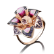 Кольцо  01-4885-00-404-1110-48 с цветной эмалью из золота, завод Платина Кострома