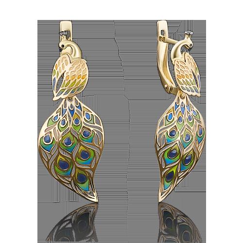 Серьги 02-3951-00-000-1130-59 Павлин из желтого золота с цветной эмалью,  завод ПЛАТИНА