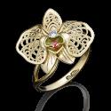 """Кольцо 01-5039-00-401-1130-48 """"Цветок орхидеи"""" с цветной эмалью из желтого золота, завод Платина Кострома"""