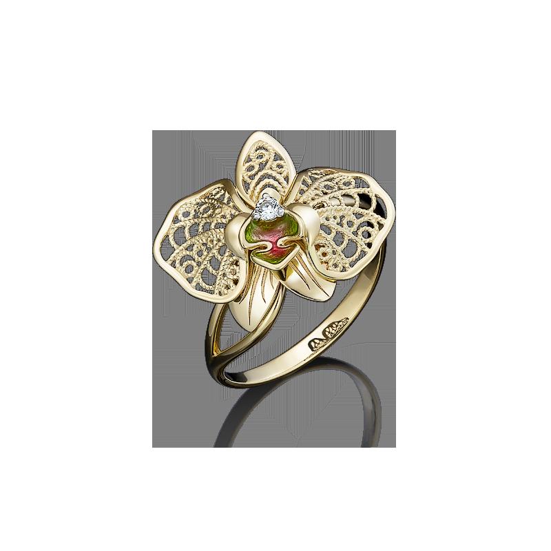 Подвеска Бабочка с цветной эмалью из золота, завод Платина Кострома