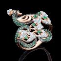 Кольцо из золота с цветными фианитами, ювелирный завод ПЛАТИНА