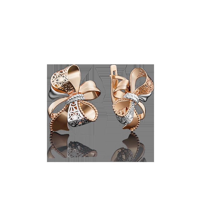 Серьги 02-3946-00-000-1110-48 из золота, ювелирный завод ПЛАТИНА