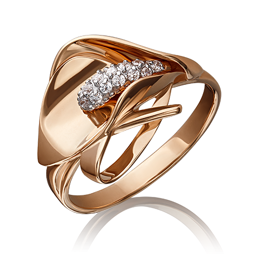 Кольцо из золота с фианитами, ювелирный завод ПЛАТИНА