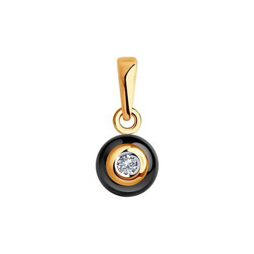 6035008 Подвеска из золота с черной керамикой и бриллиантом