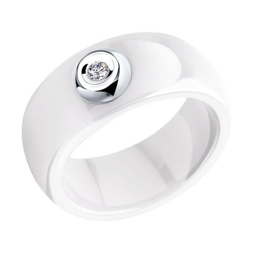 Кольцо 6015014 SOKOLOV из белой керамики с белым золотом и бриллиантом