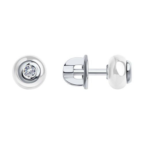 Серьги 6025072 SOKOLOV с белой керамической вставкой и бриллиантом