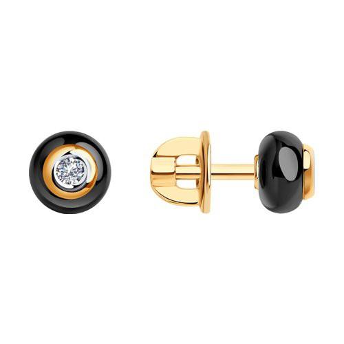 Серьги 6025069 SOKOLOV с черной керамической вставкой и бриллиантом