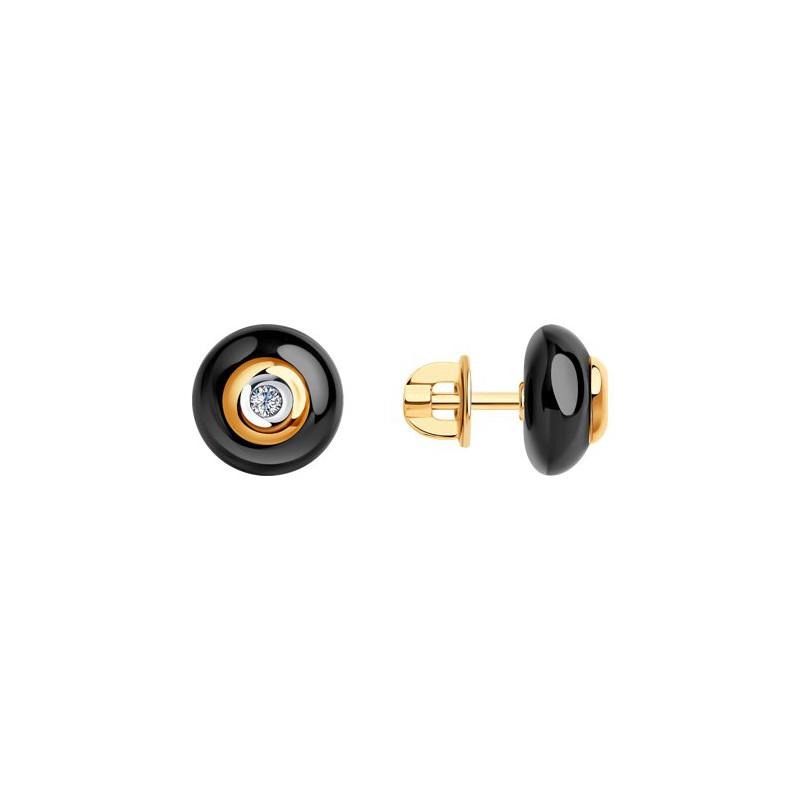 Серьги 6025056 SOKOLOV с черной керамической вставкой и бриллиантом