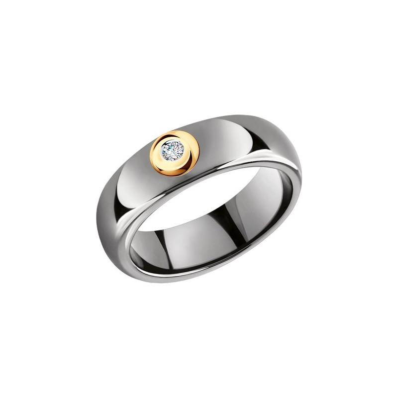 Кольцо 6015077 SOKOLOV из керамики с золотом и бриллиантом