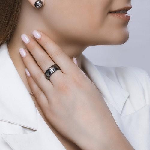 Кольцо 6015075 SOKOLOV из керамики с золотом и бриллиантом