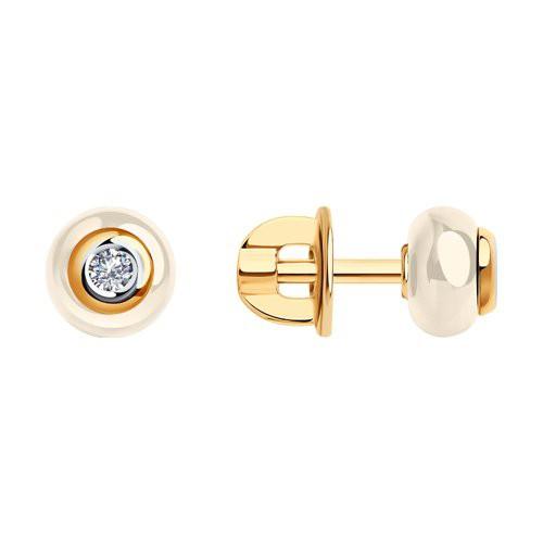 Серьги 6025075 SOKOLOV с керамической вставкой и бриллиантом