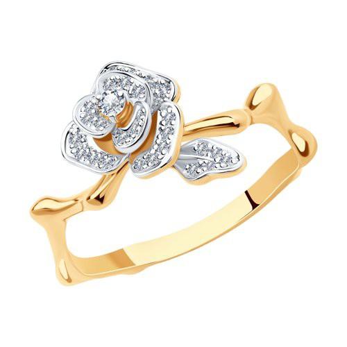 Кольцо 1011277 SOKOLOV из красного золота в виде розы с бриллиантами